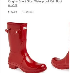 HUNTER SHORT GLOSSY RED WELLIES WORN ONCE